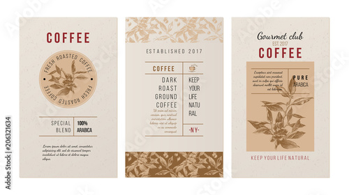 3 banners for coffee trademak in vintage style with hand drawn coffee plant