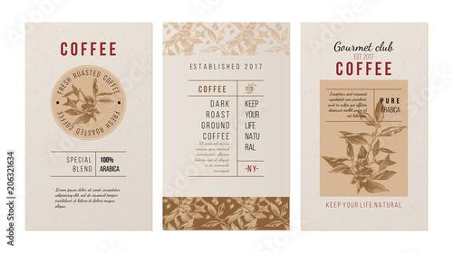 Fototapeta Trzy banery reklamujące kawę retro vintage duża