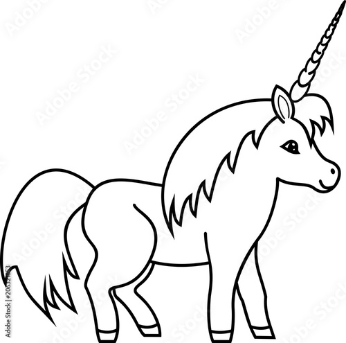 Coloring Page Cute Cartoon Unicorn Buy This Stock Vector And