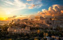 Akropolis Von Athen Bei Sonnen...