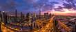 Panorama Aufnahme von Innenstadt von Dubai bei Sonnenuntergang