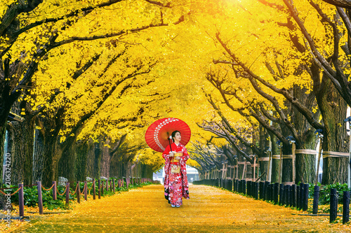Poster de jardin Orange Beautiful girl wearing japanese traditional kimono at row of yellow ginkgo tree in autumn. Autumn park in Tokyo, Japan.
