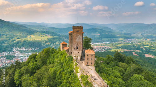 Foto auf Leinwand Altes Gebaude Castle Trifels aerial view and countryside Annweiler landscape Germany Travel Destinations