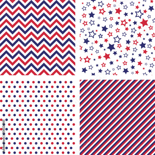 Photo  Set of US style vector seamless patterns