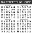 120 My workplace, creative process, mind process human productivity classic black mini concept symbols. Vector modern icon pictogram illustrations set.