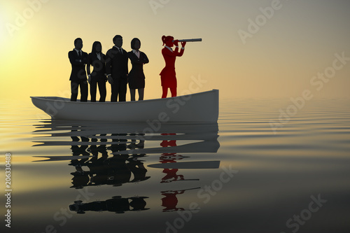 Fotografia  Woman Leader on boat leading a team with a telescope as 3d rendering