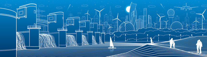 City infrastructure industrial and energy illustration panorama. Hydro power plant. River Dam. People walking. Airplane fly. White lines on blue background. Vector design art