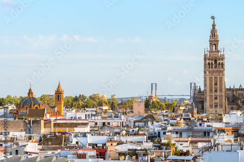 Poster Buenos Aires panoramic views of seville old town with giralda tower bell at background