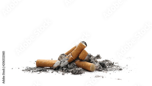 Fotografija  Cigarette butts, stubs with ash isolated on white