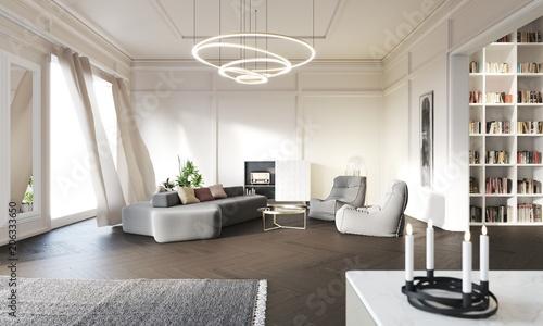 Blick auf einen Sitzbereich im Wohnzimmer, Altbauwohnung - Buy this ...