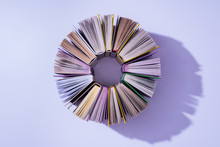 Top View Of Stack Of Books In ...