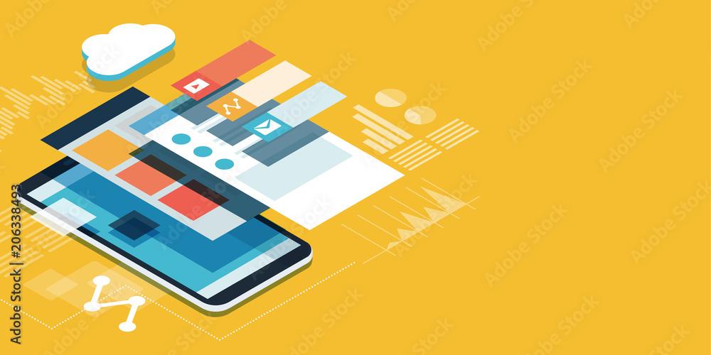 Fototapety, obrazy: App development and user interface