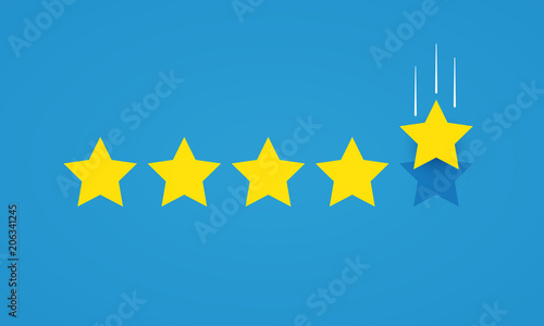 Obraz Vector illustration feedback rating concept with five stars icon for good or bad rate. - fototapety do salonu