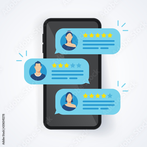 Cuadros en Lienzo Vector illustration feedback review rating stars bubble speeches on mobile phone