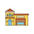 Restaurant building line icon, vector illustration. Restaurant building flat concept sign.