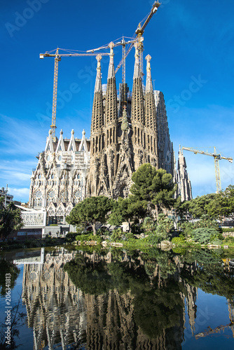 Foto op Canvas Barcelona The Cathedral of La Sagrada Familia by the architect Antonio Gaudi, Catalonia, Barcelona Spain