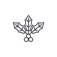 Holly Flower Line Icon, Vector...