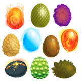 Fototapeta Dinusie - Dragon eggs vector cartoon egg-shell and colorful egg-shaped easter symbol illustration set of fantasy dinosaur egghead isolated on white background