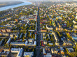 Tomsk cityscape and Tom river from aerial view