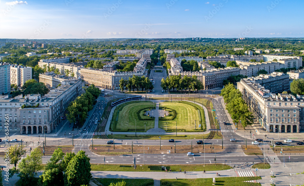 Kraków, Poland.  Aerial panorama of Nowa Huta (New Steel Mill), one of only two entirely planned and build socialist realist settlements in the world. Originally the town, now a district of Cracow