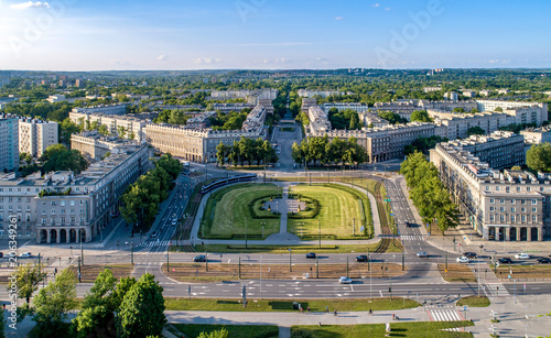 fototapeta na drzwi i meble Kraków, Poland. Aerial panorama of Nowa Huta (New Steel Mill), one of only two entirely planned and build socialist realist settlements in the world. Originally the town, now a district of Cracow