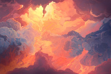 Illustration Of Fiery Sky, Sunset. Digital Painting.