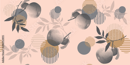 Papiers peints Empreintes Graphiques Modern floral pattern in a halftone style. Geometric shapes, apples and branches on a pink background