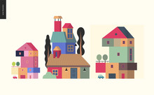 Simple Things - Houses - Flat Cartoon Vector Illustration Of Colorful Countryside House With Terrace And Trees On It, Chimney, Attic Roof Space, Tall Trees Around, Car And Garage - Houses Composition