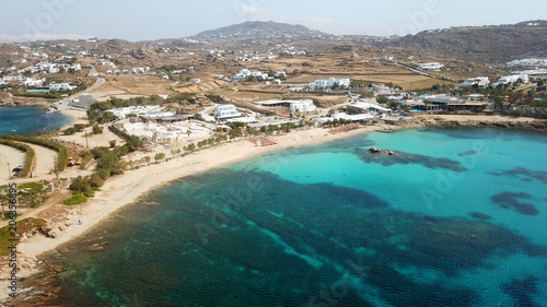 Printed kitchen splashbacks Turkey Aerial drone bird's eye view of famous Paraga beach featuring iconic beach bar of Skorpios and Santa Anna, Mykonos island, Cyclades, Greece