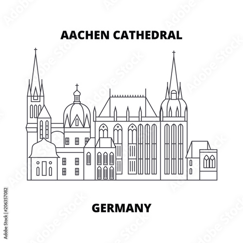 Aachen Cathedral, Germany line famous landmark, vector illustration Canvas Print