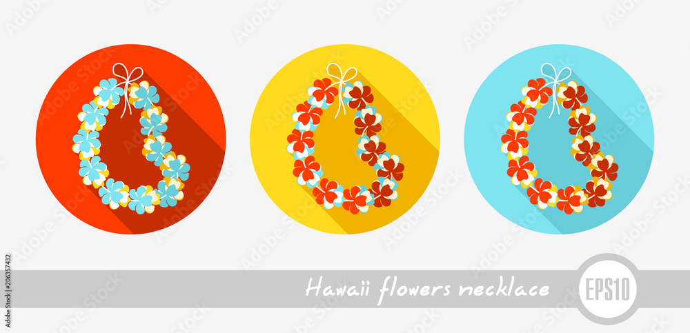 Fototapeta Hawaii flowers necklace, wreath icon. Vacation