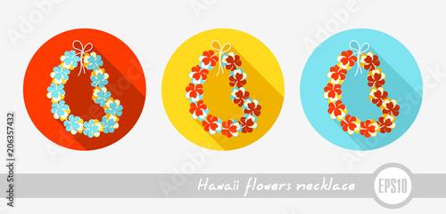 Hawajski naszyjnik z kwiatami, ikona wieniec. Wakacje