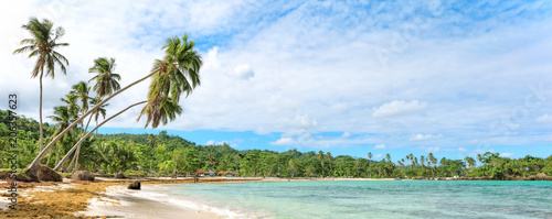 Photo  Panorama of famous secluded beach of Rincon, Las Galeras, Dominican Republic