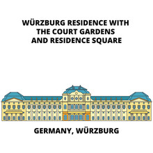 Germany, Wurzburg Residence Line Icon, Vector Illustration. Germany, Wurzburg Residence Flat Concept Sign.