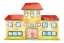Cartoon School Building Isolat...