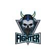 Skull gaming logo viking fighter