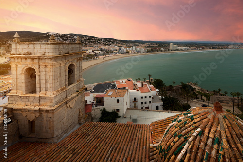 View of the sea from a height of Pope Luna's Castle. Valencia, Spain. Peniscola. Castell. The medieval castle of the Knights Templar on the beach. Beautiful view of the sea and the bay.