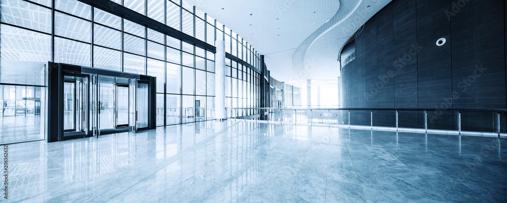 Fototapeta modern business hall interior with glass wall