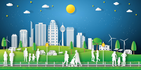 landscape of peoples exercise and relax in the night city on summer, fresh air in the park as nature, healthy, paper art and craft style concept. vector illustration.