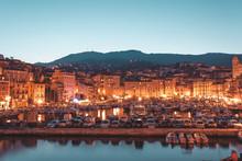Bastia Port At Night In Corsica, France