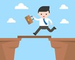Business man running cross cliff, flat design about business situation, breakthrough obstacle concept