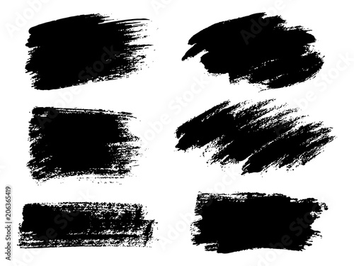 Photo Painted grunge stripes set. Black labels, background, paint text