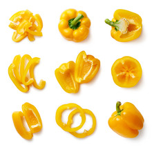 Set Of Fresh Whole And Sliced Sweet Pepper