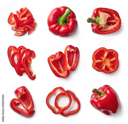 Set of fresh whole and sliced sweet pepper Fototapet