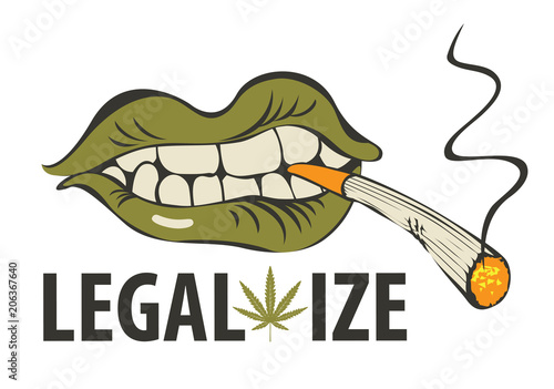 Fényképezés Vector banner with words Legalize marijuana with a human mouth with a joint or a cigarette in his teeth