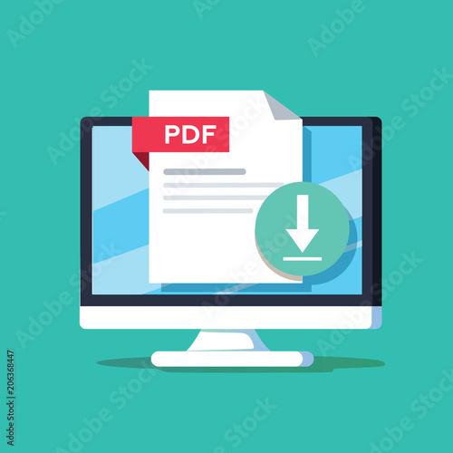 Fotografía  Download PDF button on desktop screen