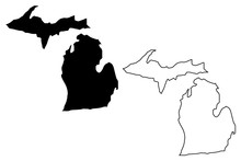 Michigan Map Vector Illustration, Scribble Sketch Michigan M
