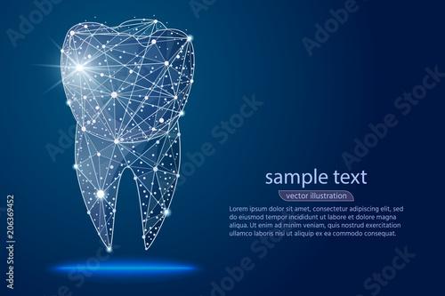 Cuadros en Lienzo abstract design dental dental clinic, logo low poly wireframe