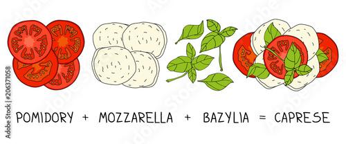 Fototapeta Caprese salad - Mozzarella & tomato obraz