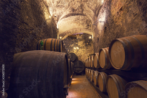 Wooden barrels with wine in a wine vault Poster